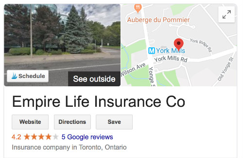 Empire Life Insurance Google Reviews