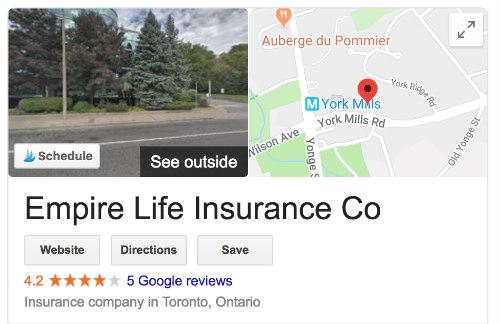 Empire Life Insurance Google Reviews