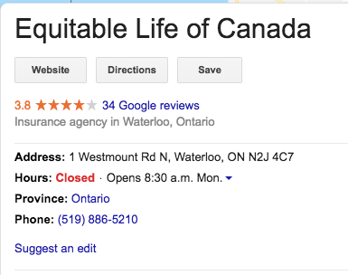 Equitable Life of Canada google Reviews