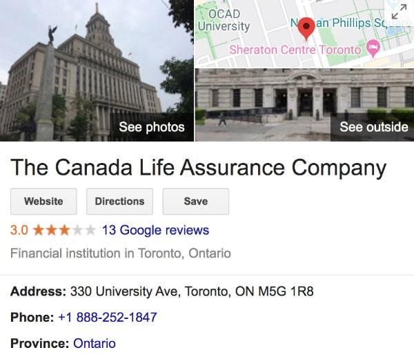 Canada Life Assurance Company Google Review