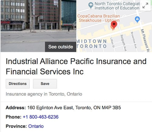 Industrial Alliance Life Insurance Google