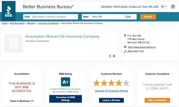 Assumption Life Insurance BBB