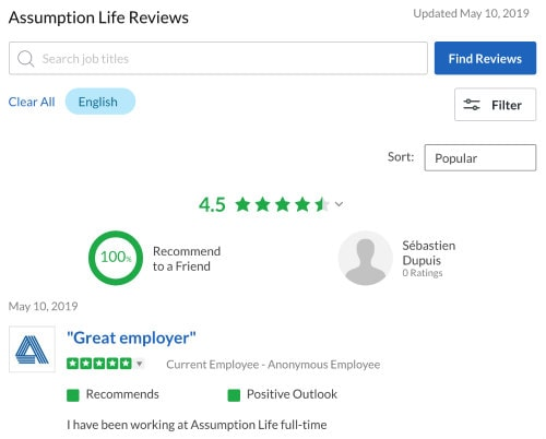 Assumption Life Insurance Glassdoor