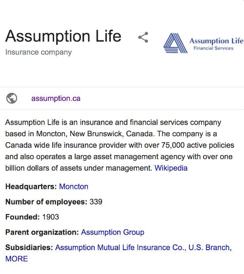 Assumption Life Insurance Google Reviews