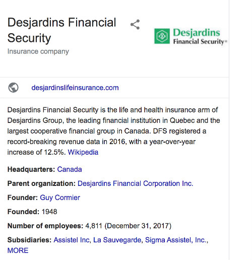 Desjardins Life Insurance Google Review