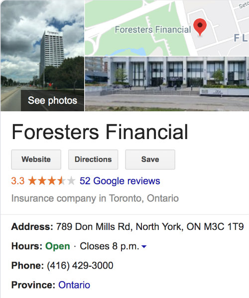 Foresters Life Insurance Canada Google Review