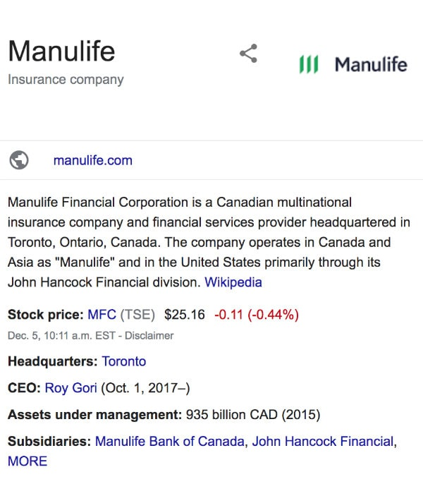 Manulife Life Insurance Google Review