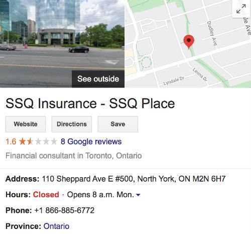 SSQ Life Insurance Google Reviews