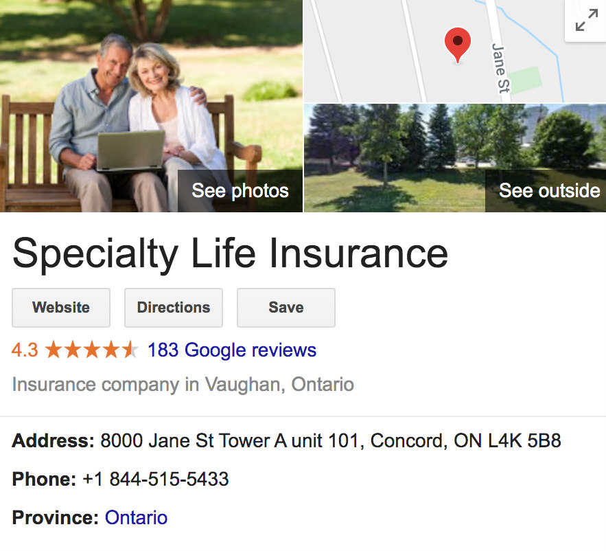 Specialty Life Insurance Google Reviews