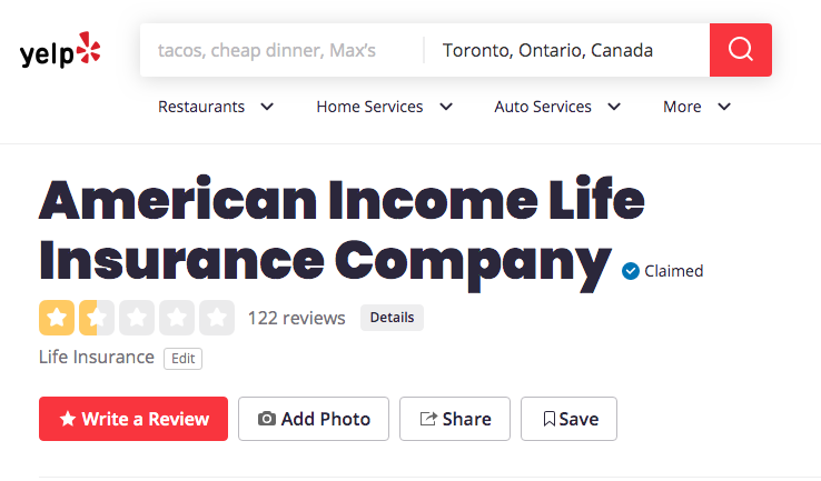american income life reviews yelp